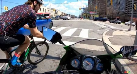 A Cyclist and a Motorcyclist Collide in Toronto, Arguing Ensues