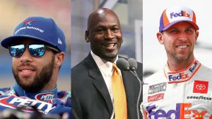 Bubba Wallace, Michael Jordan and Denny Hamlin