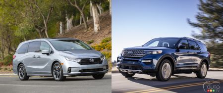 2021 Honda Odyssey, 2020 Ford Explorer Earn IIHS Top Safety Pick+ Award