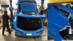 Another Corvette C8 Falls off Lift, Is Destroyed