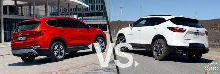 2020 Hyundai Santa Fe / 2020 Chevrolet Blazer, three-quarters rear