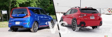2020 Kia Soul / 2020 Subaru Crosstrek , three-quarters rear