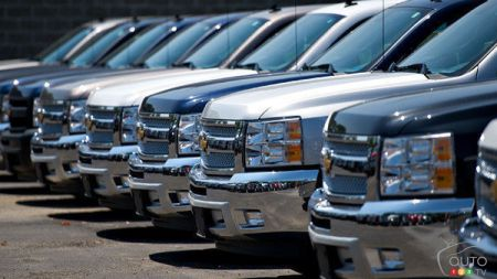 Truck stock at a dealership