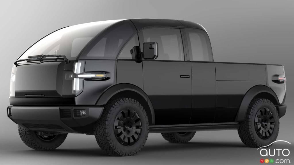 Prototype camionnette Canoo, trois quarts avant