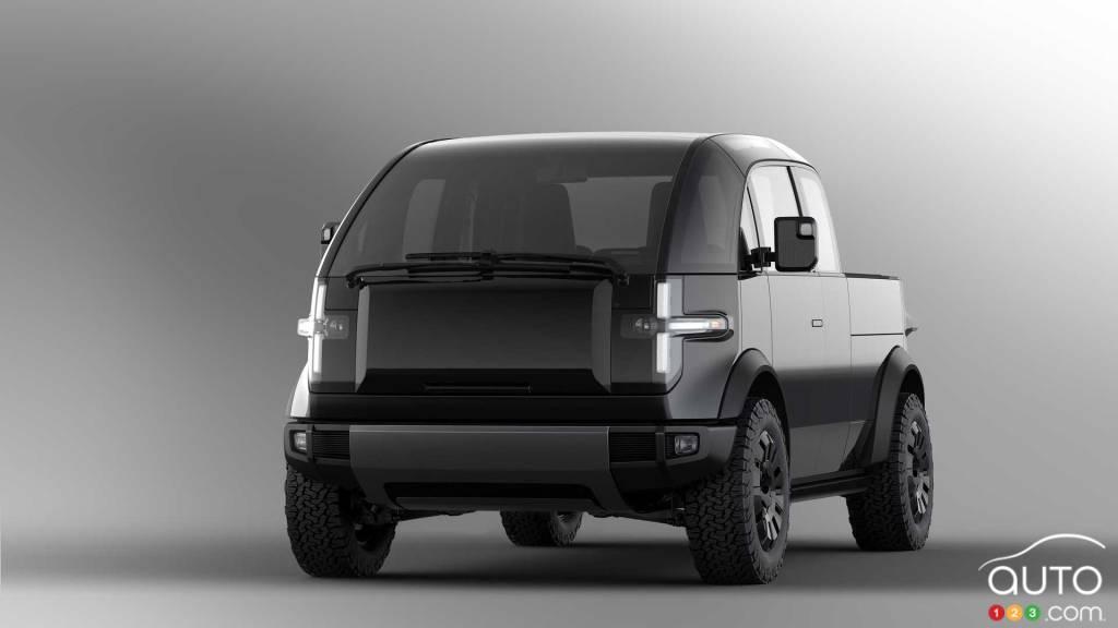 Prototype camionnette Canoo, avant