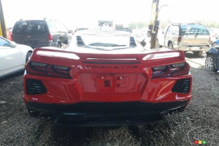 Damaged 2020 Chevrolet Corvette, rear