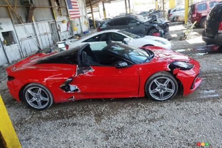 Damaged 2020 Chevrolet Corvette, profile