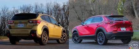 2021 Subaru Crosstrek / 2021 Mazda CX-30, three-quarters rear