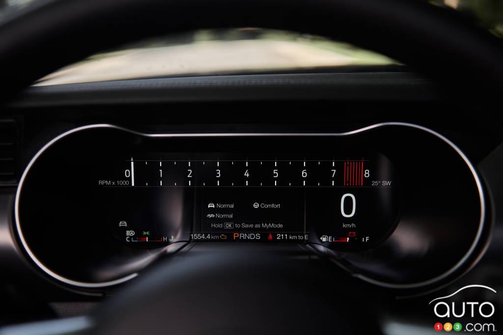 Ford Mustang GT décapotable 2020, cadran conducteur