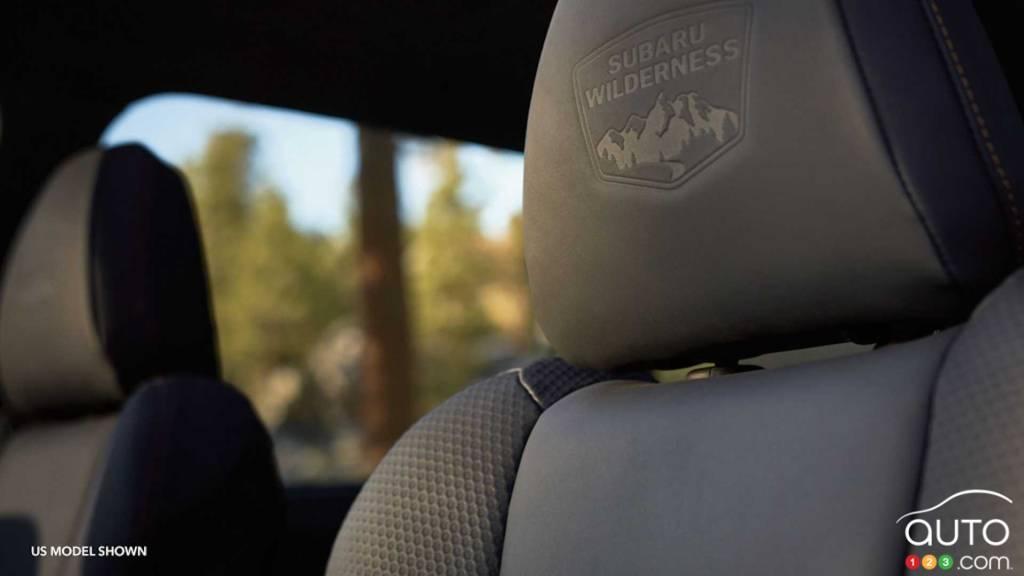 Subaru Forester Wilderness 2022, écusson sur siège