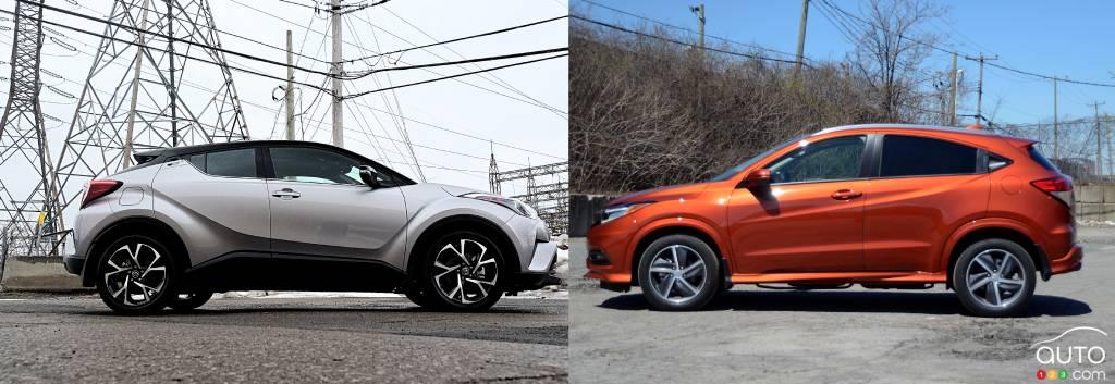 Un Toyota C-HR face à face à un Honda HR-V, aussi beaucoup plus sobre