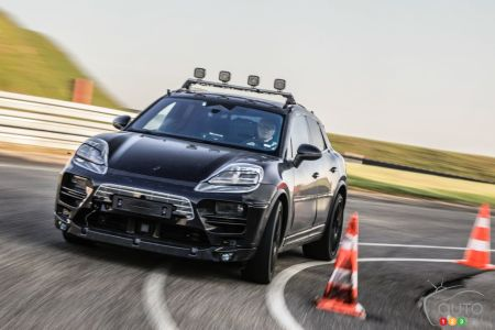 The future all-electric Porsche Macan, on the track