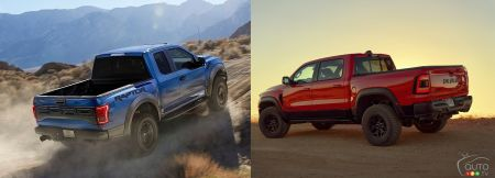 2020 Ford F-150 Raptor and 2021 Ram 1500 TRX, three-quarters rear