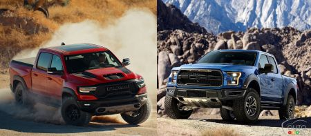 The Ram 1500 TRX and the current Ford F-150 Raptor