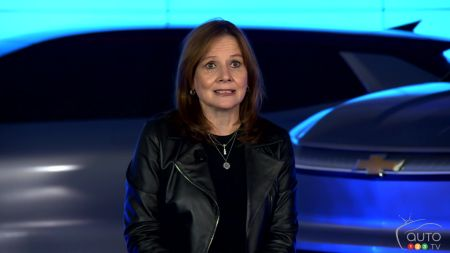 Mary Barra of General Motors, possibly in front of the future electric Silverado