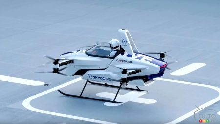 SkyDrive's flying car concept, before takeoff