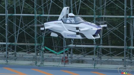 SkyDrive's flying car concept, in the air
