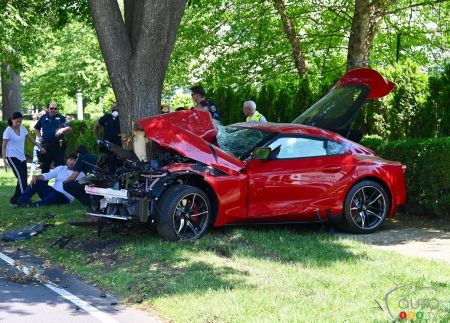 The totaled 2020 Toyota Supra