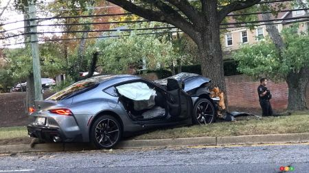 A wrecked 2020 Toyota Supra Launch Edition