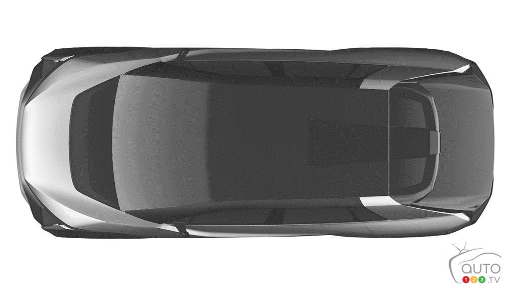 Prototype VUS électrique de Toyota, de haut