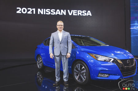 Steve Milette, president ofNissan Canada, with the 2021 Nissan Versa