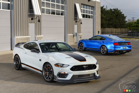 2021 Ford Mustang Mach 1, white and blue