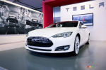 Tesla Model S video preview during the Detroit Auto Show