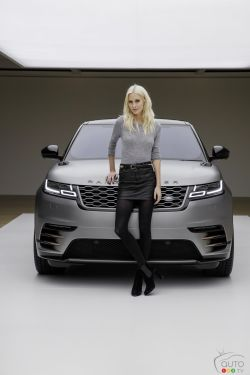 Model and Actress Poppy Delevingne with the Range Rover Velar at its launch at the Design Museum, London.