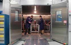 These environmental chambers make it possible to test batteries in an environment ranging from -68 to +85 C. The humidity ranges from .5% to 75%.
