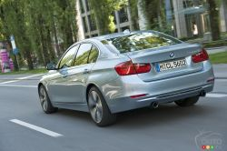 Rear view of the BMW 330e